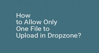 How to Allow Only One File to Upload in Dropzone?