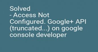 Solved - Access Not Configured. Google+ API (truncated...) on google console developer